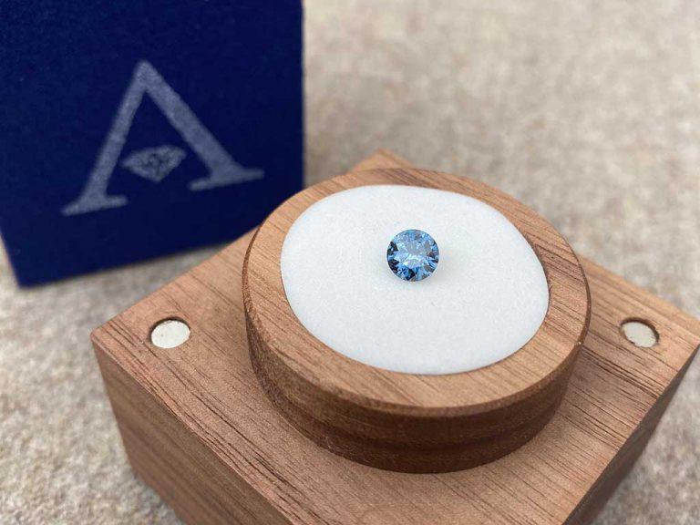 Billiant Ash Diamond on Display Case Algordanza Switzerland