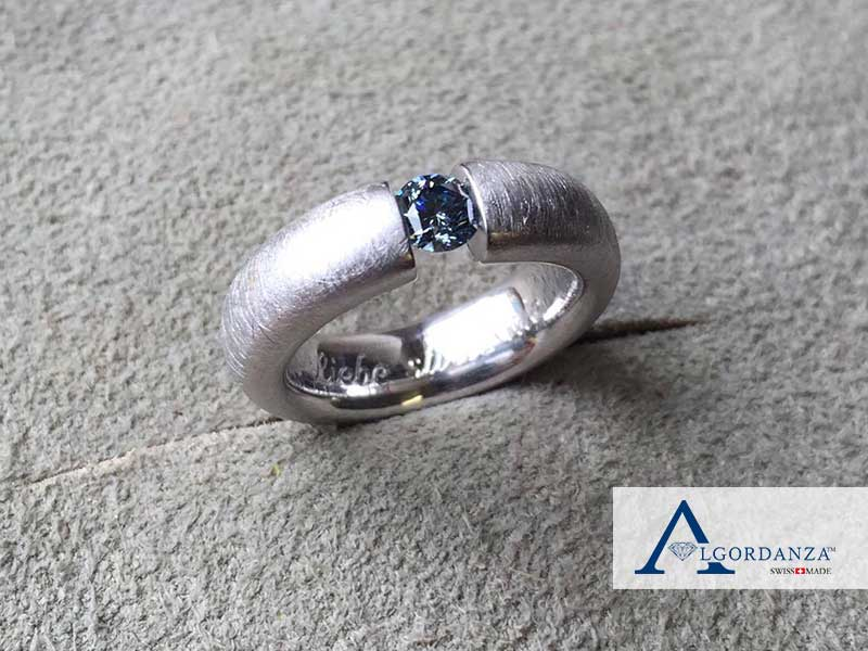 Ash Diamond in White Gold Band Algordanza UK
