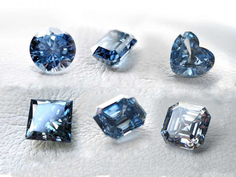 different cuts and shades of blue memorial diamonds from ashes by Algordanza