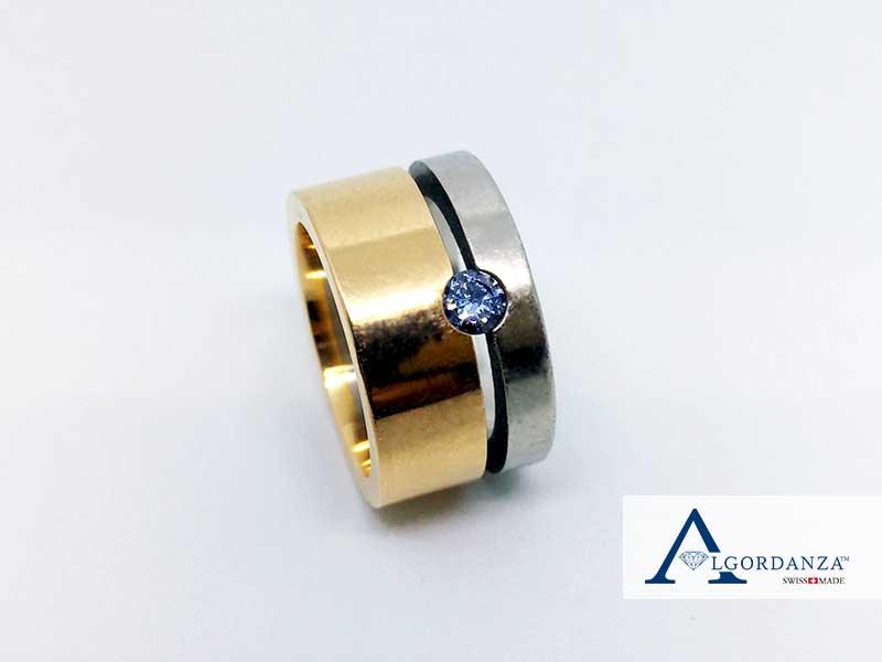 White and Yellow Gold Band Ash Ring UK