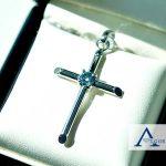 White Gold Cross Ash Diamond Algordanza UK