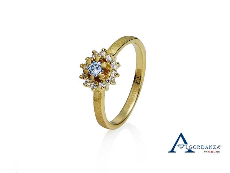 Brilliant Ash Diamond Gold Ring Algordanza UK