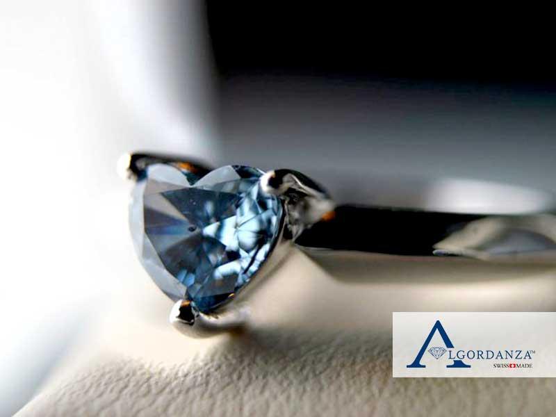 Heart Cut Ash Diamond in Ring Algordanza UK