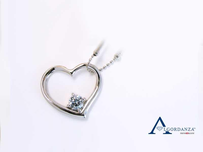 Brilliant Ash Diamond White Gold Heart Pendant Algordanza UK