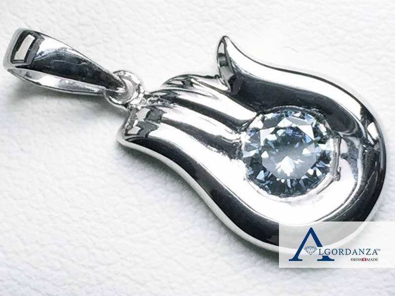 White Gold Pendant Ash Diamond Algordanza UK