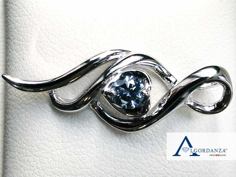 Heart Cut Ash Diamond in White Gold Pendant Algordanza UK